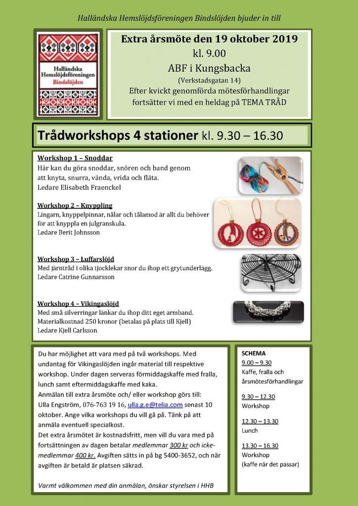 Inbjudan till extra årsmöte i Halland med fyra workshopstationer.