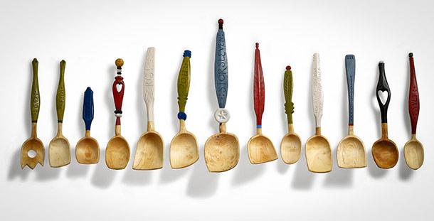 Slevar från boken Tälj för kök och trädgård. Foto: Thomas Harrysson