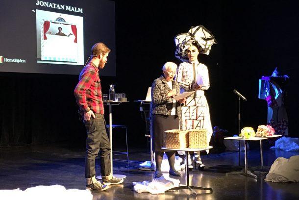 Jonatan Malm, Barbro Wingstrand och Robert Fux på scen