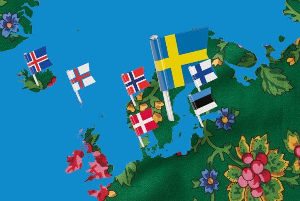 Nordisk karta med flaggor