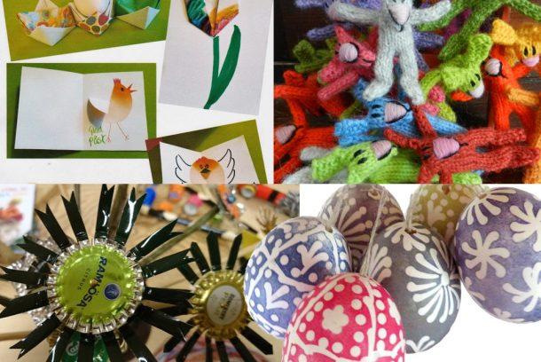 Bildcollage med målade ägg, metallsköjd, pappslöjd och garnslöjd