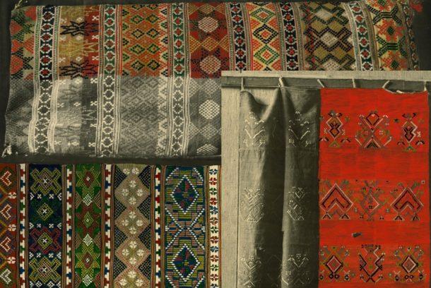 vävd textil i halvkrabba, collage