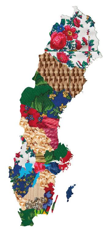 Karta över Sverige med mönster inspirerade av olika former av slöjd och hantverk.