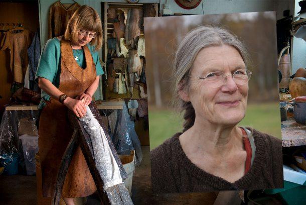 Lotta Nelson Rahme garvar ett fiskskinn. Infälld bild på Aja Pettersson.