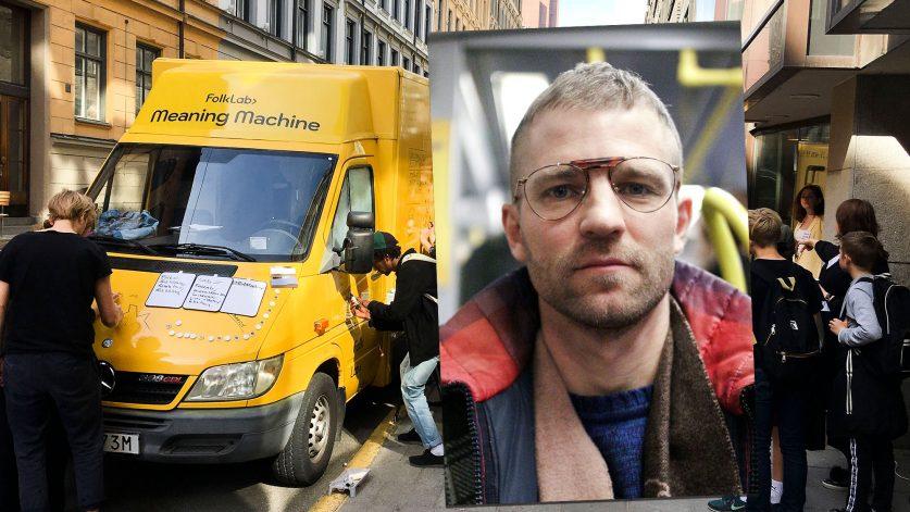 Staffan Hjalmarsson och det mobila slöjdlabbet i form av en gul minibuss!