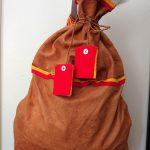 Nordsamisk ryggsäck i skinn och kläde