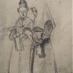 Teckning av sorgdräkt med ok från Delsbo