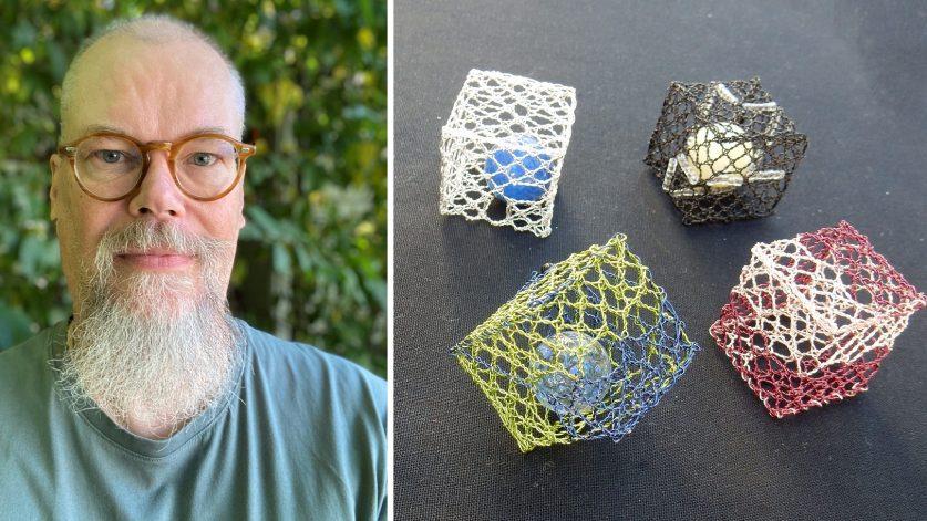 Sam Jakobsson och knypplade kuber i metalltråd.